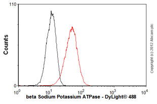 Flow Cytometry - Anti-beta Sodium Potassium ATPase antibody [M17-P5-F11] (ab2873)