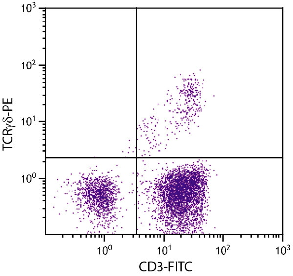 Flow Cytometry - Anti-TCR gamma + TCR delta antibody [TCR1] (Phycoerythrin) (ab25423)